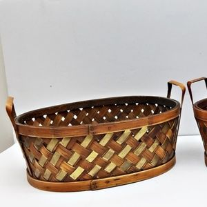 2 Vintage Oval Handled Baskets Woven Wood & Brass